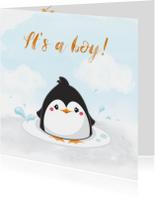 Felicitatiekaart pinguin voor geboorte jongen