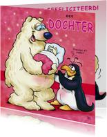 Felicitatiekaart pinguins geboorte dochter 2 ijsbeer