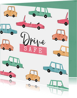 Felicitatiekaart rijbewijs auto nieuwe baan drive safe