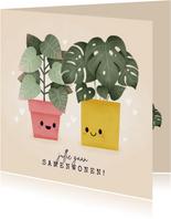 Felicitatiekaart samenwonen met plantjes en hartjes