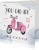 Felicitatiekaart scooter bromfiets meisje waterverf doodle