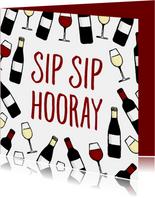 Felicitatiekaart 'Sip Sip Hooray' met wijnpatroon