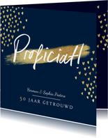 Felicitatiekaart stijlvol goud jubileum proficiat hartjes