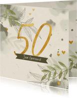 Felicitatiekaart takjes gouden hartjes en waterverf groen