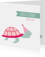 Felicitatiekaart te laat schildpad - HB