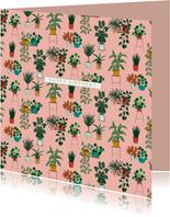 Felicitatiekaart trendy botanische kamerplanten