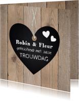 Felicitatiekaart trouwdag hartje krijtbord houtprint
