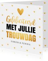 Felicitatiekaart trouwdag typografie hartjes goudlook