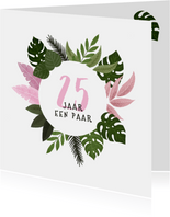 Felicitatiekaart trouwjubileum met plantjes