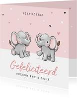 Felicitatiekaart tweeling geboorte olifantjes hartjes roze