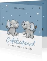 Felicitatiekaart tweeling jongens geboorte baby olifantjes