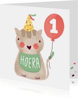 Felicitatiekaart verjaardag kat groen en bruin