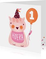 Felicitatiekaart verjaardag kat roze