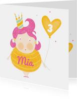 Felicitatiekaart verjaardag meisje ballon geel