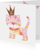Felicitatiekaart verjaardag roze kat kroon
