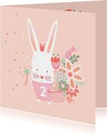 Felicitatiekaart verjaardag roze konijn kroon