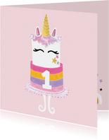 Felicitatiekaart verjaardag unicorn taart roze / goud - MW