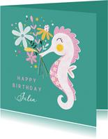 Felicitatiekaart verjaardag zeepaardje bloemen groen