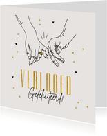 Felicitatiekaart verloofd stijlvol lijntekening handen ring
