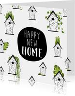Felicitatiekaart voor een nieuwe woning met vogelhuisjes