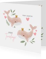 Felicitatiekaart voor een tweeling met walvissen en hartjes