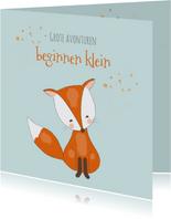 Felicitatiekaart voor geboorte jongen met een lief vosje