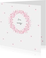 Felicitatiekaart voor geboorte met roze krans