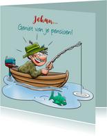 Felicitatiekaart voor gepensioneerde man die graag vist