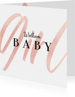 Felicitatiekaart welkom baby girl stijlvol meisje