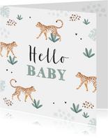 Felicitatiekaart welkom baby luipaard jungle dieren