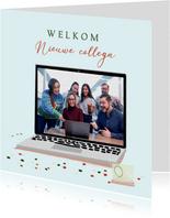 Felicitatiekaart welkom op afstand met laptop