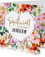 Felicitatiekaart zomerbloemen en goud huwelijksjubileum