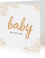 Felicitatiekaart zwanger baby hartjes goud stijlvol