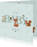 Felicitatiekaart zwanger - Bosdieren mintgroen