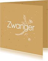 Felicitatiekaart - Zwanger - flowers