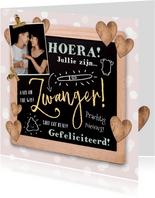 Felicitatiekaart zwanger krijtbord, foto, illustraties, hart