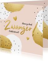 Felicitatiekaart 'Zwanger!' met stippen en hartjes