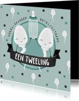Felicitatiekaart zwanger tweeling humor zaadcellen confetti
