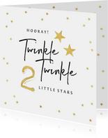 Felicitatiekaart zwanger tweeling twinkle little stars goud