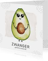 Felicitatiekaart zwangerschap met zwangere avocado