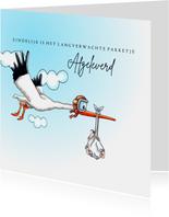 Felicitatiekaarten vliegende ooievaar zoon geboren