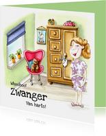 Felicitatiekaarten Zwangerschap illustratie in babykamer