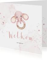 Felicitatiekaartje bijtring met lief roze olifantje
