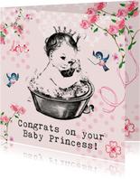 Felicitatiekaartje geboorte met baby prinsesje in bad