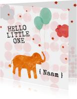 Felicitatiekaartje geboorte olifant met ballonnen oranje