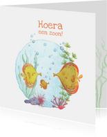 Felicitatiekaartje geboorte vissen