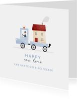 Felicitatiekaartje happy new home busje met huis