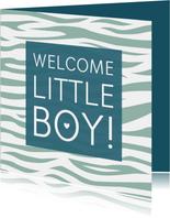 Felicitatiekaartje tijgerprint groen geboorte jongen