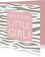 Felicitatiekaartje tijgerprint roze geboorte meisje