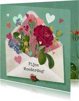 Fijne Moederdag, envelop gevuld met bloemen en hartjes